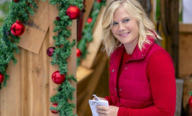 Alison Sweeney and Jordan Bridges in Christmas At Holly Lodge